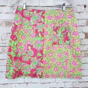 Lilly Pulitzer 10 Tropical Floral Turtle Skirt EUC